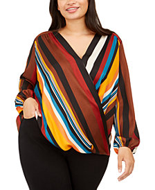 INC Plus Size Striped Surplice Blouse, Created For Macy's