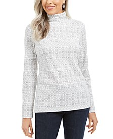 Fair Isle Printed Turtleneck Top, Created for Macy's