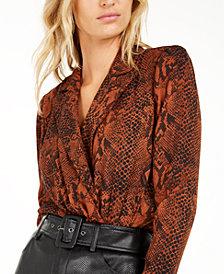 Becca Tilley x Bar III Animal Print Bodysuit, Created For Macy's