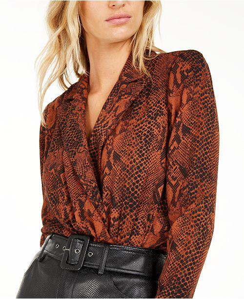 Bar III Becca Tilley x Animal Print Bodysuit, Created For Macy's
