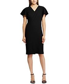 Crepe Short-Sleeve Dress