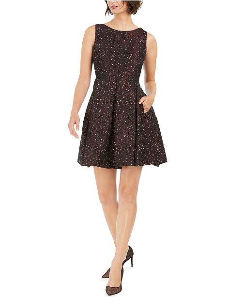Taylor Petite Jacquard Printed Fit & Flare Dress