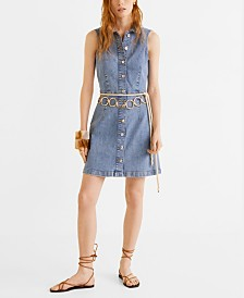 Mango Button Denim Dress