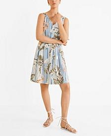 Floral Print Linen-Blend Dress