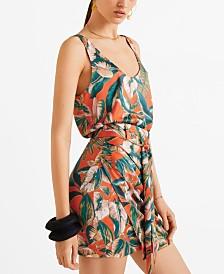 Mango Tropical Print Miniskirt