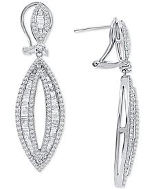Diamond Marquise-Shape Drop Earrings (2 ct. t.w.) in 14k White Gold