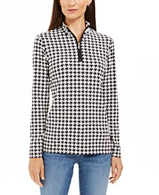 Houndstooth-Print Zippered Top, Created For Macy's