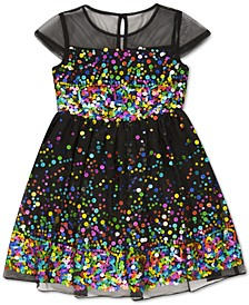 Little Girls Illusion Sequin Dress