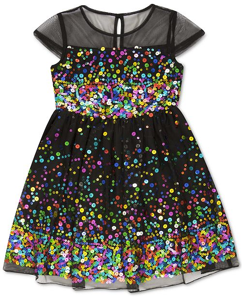 Speechless Toddler Girls Illusion Sequin Dress