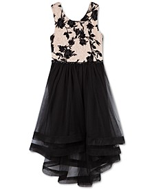 Big Girls Flocked Crinoline-Trim Dress