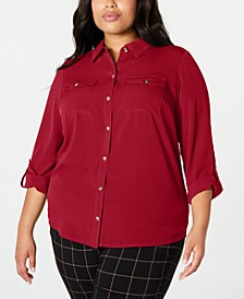 Plus Size Button-Front Shirt, Created for Macy's