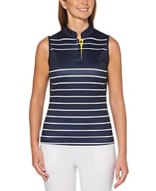 Sleeveless Striped Golf Polo