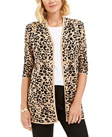 Jacquard Leopard-Print Cardigan, Created For Macy's