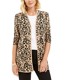 JM Collection Jacquard Leopard-Print Cardigan, Created For Macy's