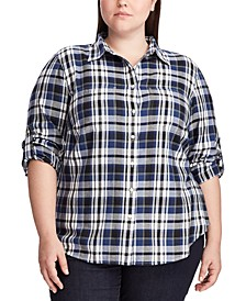 Plus Size Plaid Roll Tab Button-Down Shirt