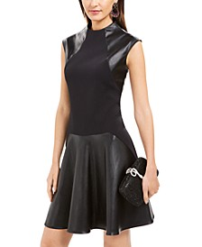 Faux-Leather & Scuba Flounce Dress