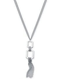 """Link & Multi-Chain Tassel Pendant Necklace, 32"""" + 2"""" extender, Created For Macy's"""