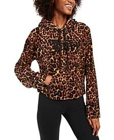 Leopard Print Logo Hoodie