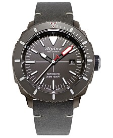 Alpina Men's Swiss Automatic Seastrong Diver 300 Gray Leather Strap Watch 44mm