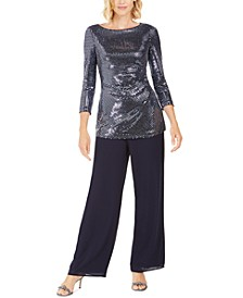 Sequin Top & Straight-Leg Pants