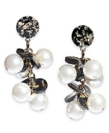INC Gold-Tone Flecked Disc & Imitation Pearl Drop Earrings, Created for Macy's