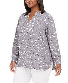 Anne Klein Plus Size Floral-Print Split-Neck Blouse