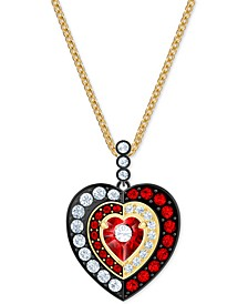 "Two-Tone Crystal Heart Pendant Necklace, 16-1/2"" + 2"" extender"