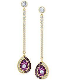 Swarovski Gold-Tone Crystal Convertible Earrings
