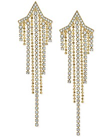 Crystal & Ball Chain Shooting Star Statement Earrings