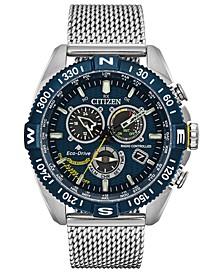Eco-Drive Men's Chronograph Promaster Blue Angels Navihawk Stainless Steel Mesh Bracelet Watch 44mm