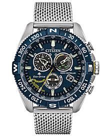 Citizen Eco-Drive Men's Chronograph Promaster Blue Angels Navihawk Stainless Steel Mesh Bracelet Watch 44mm