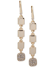 Gold-Tone Pavé Square Linear Earrings