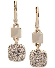 Gold-Tone Pavé Square Drop Earrings