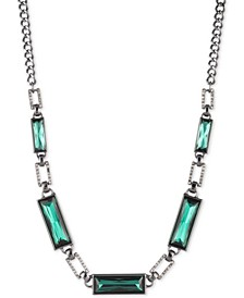 "Hematite-Tone Green Stone Collar Necklace, 16"" + 3"" extender"