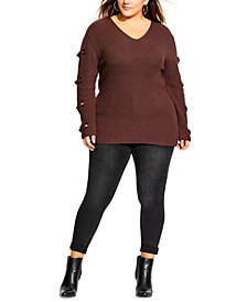 Trendy Plus Size Grommet-Sleeved Sweater