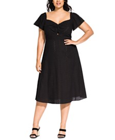 City Chic Trendy Plus Size Cotton Embroidered Lace A-Line Dress