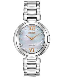 Citizen Eco-Drive Women's Capella Diamond-Accent Stainless Steel Bracelet Watch 34mm
