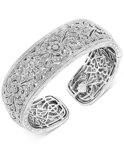 Macy's Diamond Floral Filigree Cuff Bracelet (1/2 ct. t.w.) in Sterling Silver