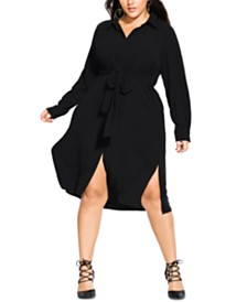City Chic Trendy Plus Size Belted Shirtdress
