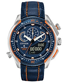 Citizen Eco-Drive Men's Analog-Digital Chronograph Promaster SST Black Leather Strap Watch 46mm