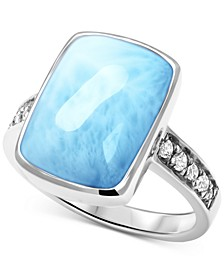 Larimar (9 x 15mm) & White Sapphire (1/10 ct. t.w.) Statement Ring in Sterling Silver