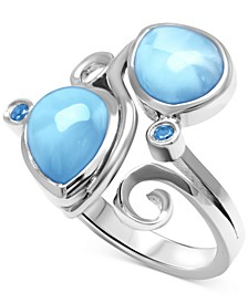 Larimar (7 x 11mm) & Blue Spinel (1/10 ct. t.w.) Statement Ring in Sterling Silver