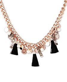 "Rose Gold-Tone Crystal, Tortoise-Look, Imitation Pearl & Tassel Charm Statement Necklace, 18"" + 2"" extender"