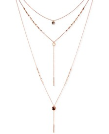 """Rose Gold-Tone Crystal, Imitation Pearl & Tortoise-Look Layered Necklace, 14"""" + 2"""" extender"""
