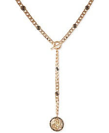 """GUESS Gold-Tone Link & Crystal Flower Lariat Necklace, 22"""" + 2"""" extender"""