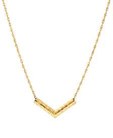 """Double Chevron Bar 17"""" Pendant Necklace"""