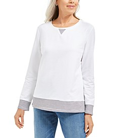 Petite Striped-Trim Top, Created For Macy's