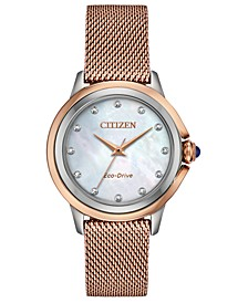 Eco-Drive Women's Ceci Diamond-Accent Pink Gold-Tone Stainless Steel Mesh Bracelet Watch 32mm
