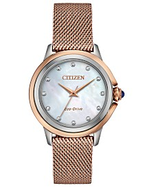 Citizen Eco-Drive Women's Ceci Diamond-Accent Pink Gold-Tone Stainless Steel Mesh Bracelet Watch 32mm