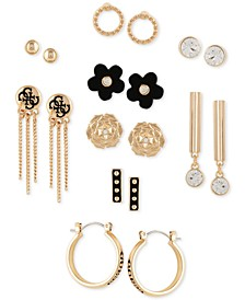Gold-Tone 9-Pc. Set Crystal & Faux-Leather Earrings